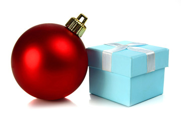 christmas ball and small box for a gift