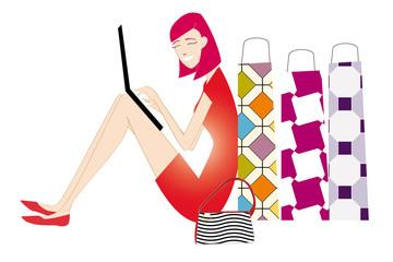 Shop - Donna seduta con pacchi