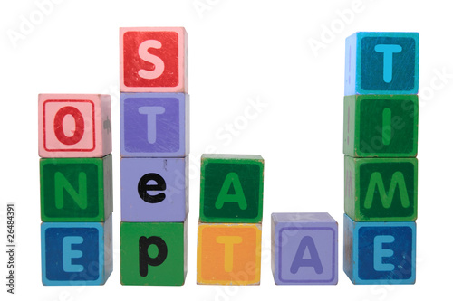 one step at a time in toy blocks