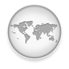 """White Button / Icon """"World Map"""""""