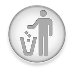"White Button / Icon ""Litter Container"""
