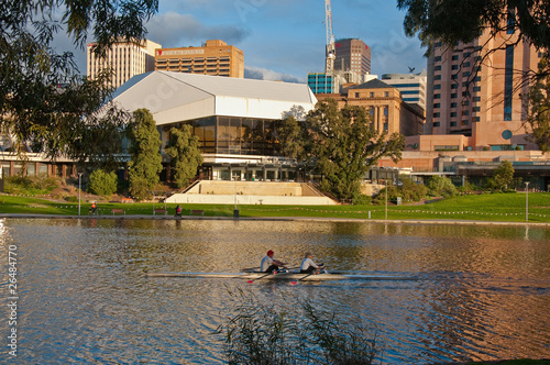 rowing on the river downtown adelaide, south australia