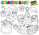 Fototapety Coloring book with Christmas theme