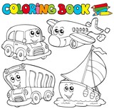 Coloring book with various vehicles - 26485187