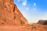 Panoramic view on desert rock formation - Wadi Rum, Jordan