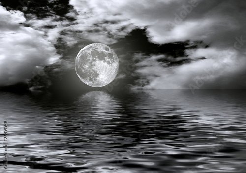 Full moon image with water - 26491948