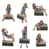Girl with a boom box, a set of seven icons