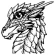 tattoo dragon illustration (black)