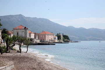 Croatian beach in a town of Orebic