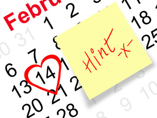 Valentine's day reminder with hint sticky