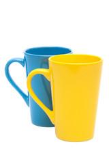 yellow and blue mug