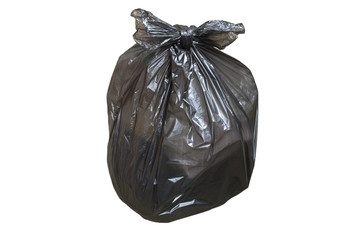 Disposable plastic bag full of garbage isolated over white