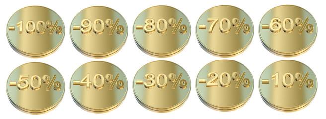 Golden percentage icons - Business, success concept