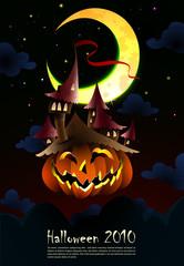 Halloween Invitation | Poster | Spooky Castle grown on a Pumpkin
