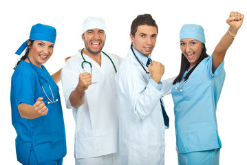 Excited group of doctors