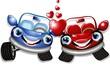 Automobili d'Amore Cartoon-Love Cars-Vector