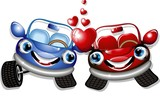 Automobili d'Amore Cartoon-Love Cars-Vector