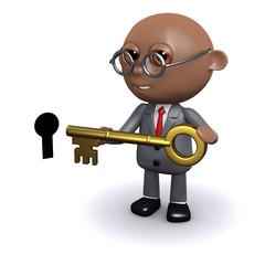 3d Black businessman holds the key
