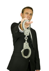 Man holding handcuffs