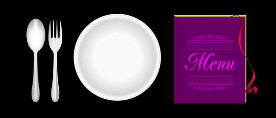 Plate, fork, spoon, menu