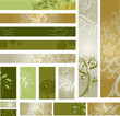 Vector samples of web-design (banners) with decorative tree.