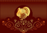 Turkey postcard.Vector thanksgiving background