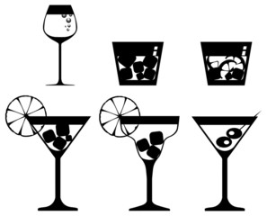 cocktails and drinks. Black-and-white