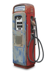 Old gas pump, isolated with clipping path