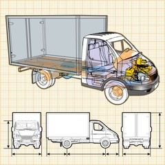 Vector delivery / cargo truck infographics cutaway