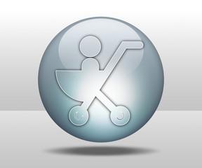 "Hovering Sphere Button ""Stroller / Baby Transport"""
