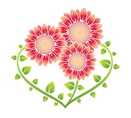 Три цветка в форме сердца