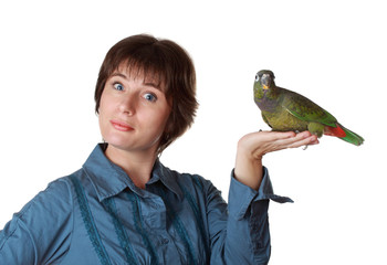 woman holding a parrot