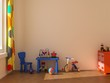 Child room with blue table.