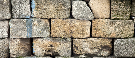 Old brick wall for background.