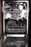 dishwasher with dishes and utensil poster