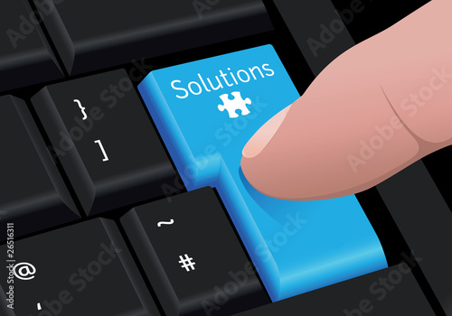 Vector finger pressing a blue solutions key on black keyboard