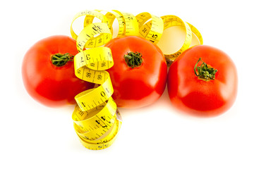 Measure with tomatoes on a white background