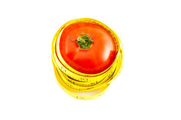 Measure with tomato on a white background