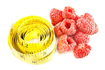 Measure with raspberry on a white background