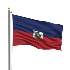 Flag of Haiti waving in the wind in front of white background