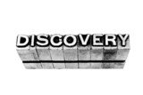 Discovery sign written in metallic letters on white background poster