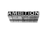 Ambition sign written in metallic letters on white background poster