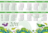 Calendar for 2011 with flowers