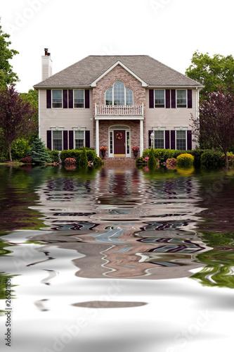 Leinwandbild Motiv Flood Damaged Home