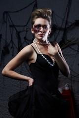 Burnt glamorous girl, Halloween party