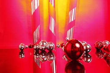 Christmas balls and giant candy bars