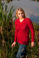 Girl in red pullover