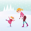 Ice skating girl with her mother on sport stadium. VECTOR