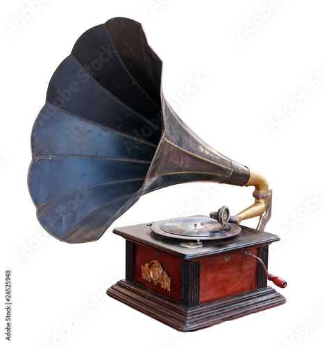 Vintage gramophone. Clipping path included.