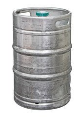 Metal beer keg isolated. Clipping path included
